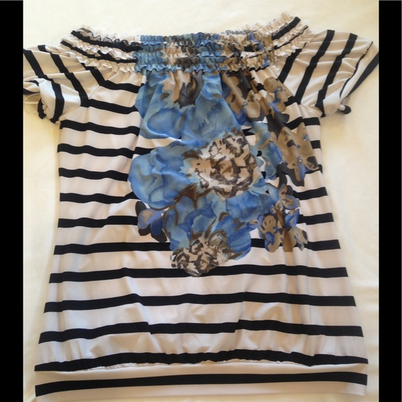 The Limited Tops - Black & White Striped Blue Floral Top Bandeau Neck